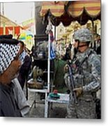 Us Soldier Patrols The Streets Metal Print by Everett
