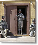 U.s. Soldiers On Guard At Fort Irwin Metal Print