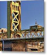 Usa, California, Sacramento, Tower Bridge Over Sacramento River Metal Print
