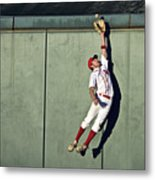 Usa, California, San Bernardino, Baseball Player Making Leaping Catch At Wall Metal Print