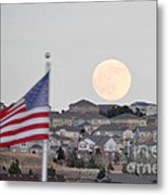 Usa Flag And Moon Metal Print