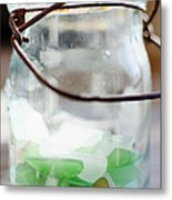 Usa, New York State, New York City, Brooklyn, Sea Glass In Jar Metal Print