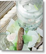 Usa, New York State, New York City, Brooklyn, Still Life With Sea Glass And Pebbles Metal Print