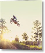 Usa, Texas, Austin, Dirt Bike Jumping Metal Print by King Lawrence
