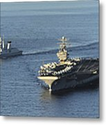Uss Abraham Lincoln And French Navy Metal Print