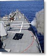 Uss Halsey Fires Its Mk-45 Metal Print