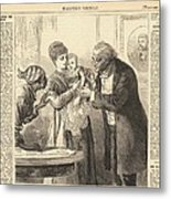 Vaccinating The Baby Against Smallpox Metal Print by Everett