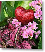 Valentine Heart And Flowers Metal Print