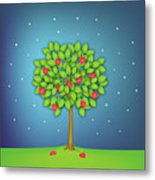 Valentine Tree With Hearts And Stars Metal Print
