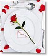 Valentines Place Setting With Red Rose And Petals Metal Print