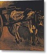 Van Gogh - Karren Mit Rotbraunem Ochsen.jpeg Cart With Red And White  Metal Print