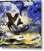 Van Gogh.s Flying Pig 2 Metal Print by Wingsdomain Art and Photography