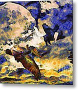 Van Gogh.s Flying Pig Metal Print by Wingsdomain Art and Photography