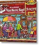 Van Horne Bagel Next To Yangste Restaurant Montreal Streetscene Metal Print