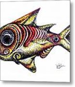 Variegated Red Fish In Stipple Metal Print