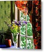 Vase Of Flowers And Mug By Window Metal Print