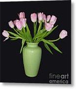 Vase Of Pink Tulips Metal Print