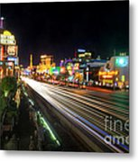 Vegas Light Trails Metal Print