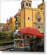 Vending Cart Outside Of The Basilica De Metal Print by Krista Rossow
