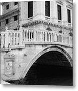 Venice Bridge Bw Metal Print