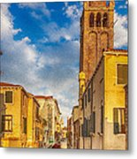 Venice Sunset View Of Two Towers From The Ponte San Barnaba On The Fondamenta Rezzonica Metal Print