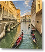 Venice View To The Grand Canal From The Calle Foscari Bridge Metal Print