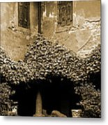 Verona Courtyard II In Sepia Metal Print