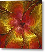 Vibrant Red And Gold Metal Print