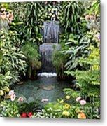 Victorian Garden Waterfall - Digital Art Metal Print
