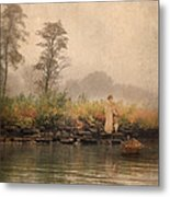 Victorian Lady By Row Boat Metal Print