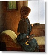 Victorian Lady Gazing Out The Window Metal Print