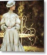 Victorian Lady On Garden Bench Metal Print