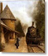 Victorian Woman At Train Station Metal Print