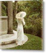 Victorian Woman In Garden With Parasol Metal Print