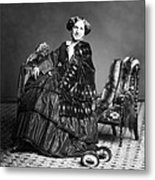 Victorian Woman With Furs C. 1853 Metal Print