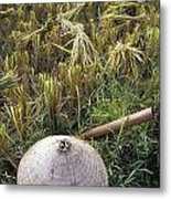 Vietnamese Conical Hat And Rice Cutting Metal Print