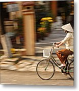 Vietnamese Woman Riding A Bicycle Metal Print