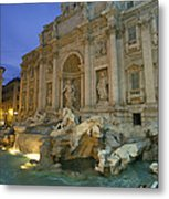 View At Dusk Of The Trevi Fountain Metal Print