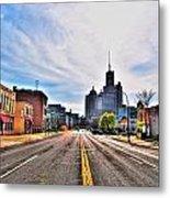 View Down Broadway Into Downtown Buffalo Ny Metal Print
