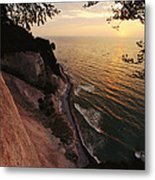 View Looking Down Cliffs At Sunset Metal Print
