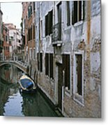 View Of A Canal In A Quiet Residential Metal Print