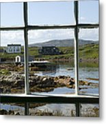 View Of A Harbor Through Window Panes Metal Print