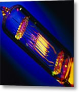 View Of A Lit Technical Electric Light Bulb Metal Print