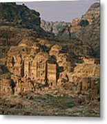 View Of A Number Of Nabataean Tombs Metal Print by Annie Griffiths