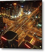 View Of Cityscape At Night Metal Print