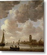 View Of Dordrecht Downstream From The Grote Kerk Metal Print