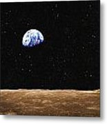 View Of Earth From The Moons Surface Metal Print