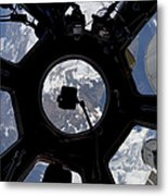 View Of Earth Through The Cupola Metal Print