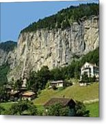 View Of Greenery And Waterfalls On A Swiss Cliff Metal Print
