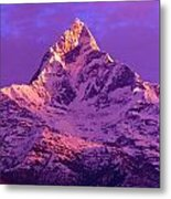 View Of Machhapuchhare At Sunrise From Metal Print